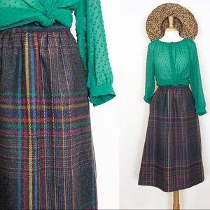 Vintage Wool Grey Plaid High Waist Skirt • sz 8
